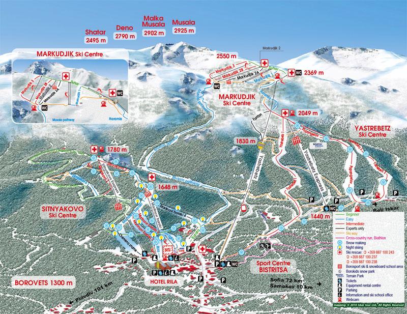 План-схема трасс горнолыжного центра Боровец