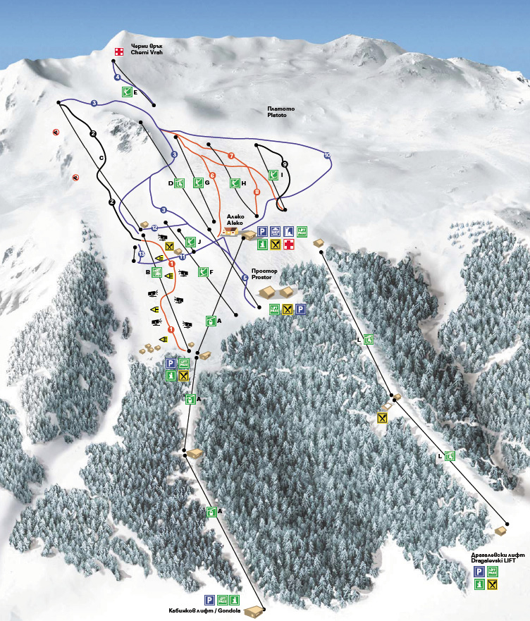 План-схема трасс горнолыжного центра Витоша
