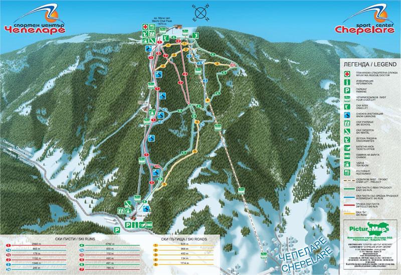 План-схема трасс горнолыжного центра Чепеларе
